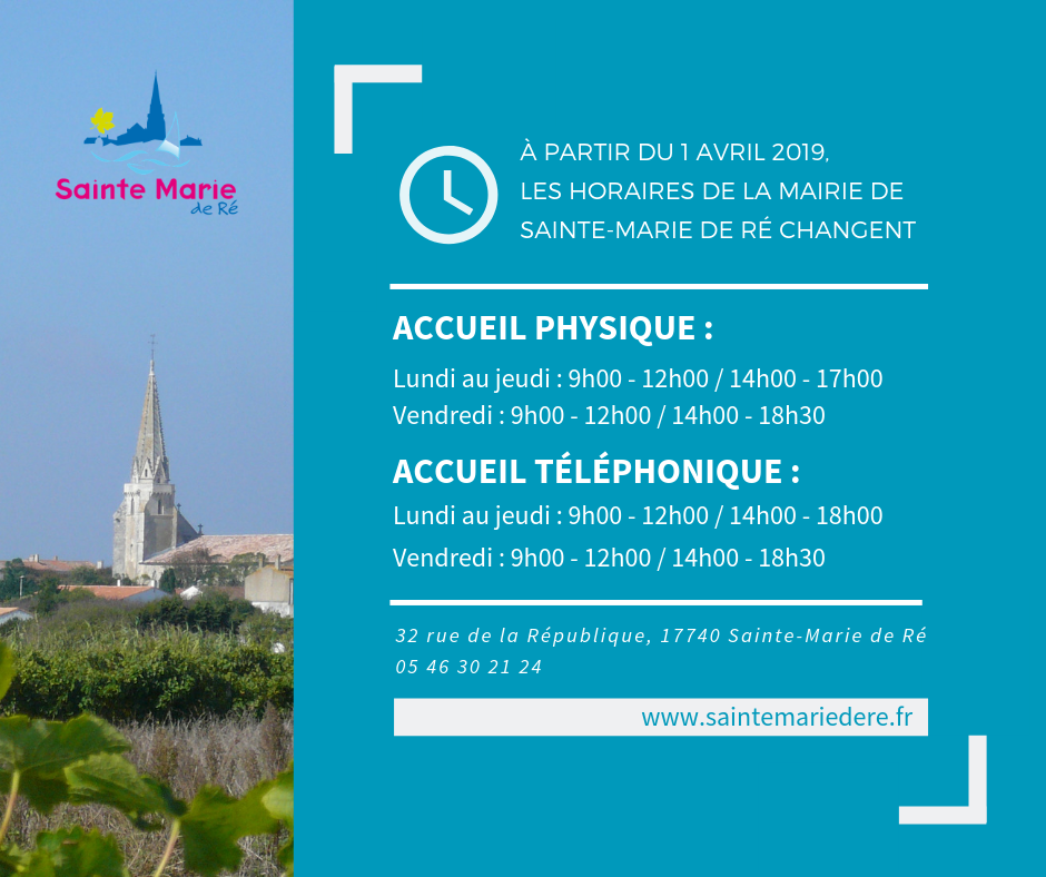 Horaires avril 2019 mairie